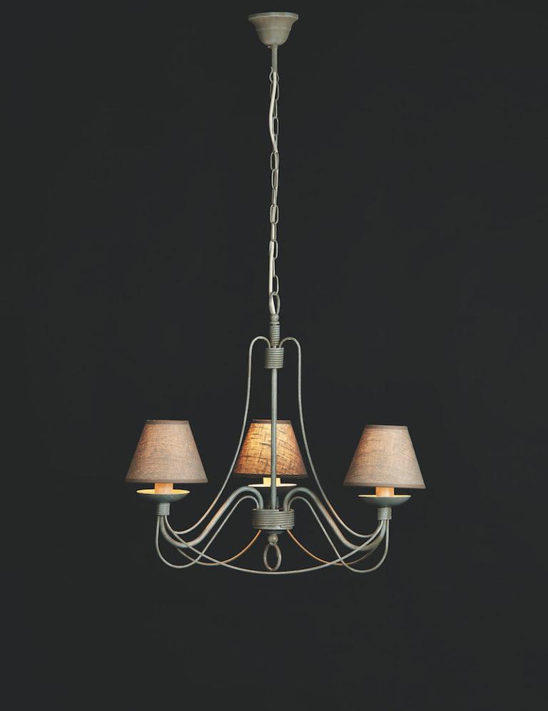 604-3 GR - Kroonluchter - Landelijke meubels en verlichting - Sarah Mo