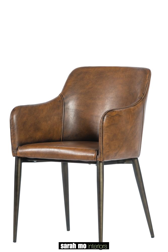 Donkerbruine vintage eetkamerstoel - Stoel - Landelijke meubels en verlichting - Sarah Mo