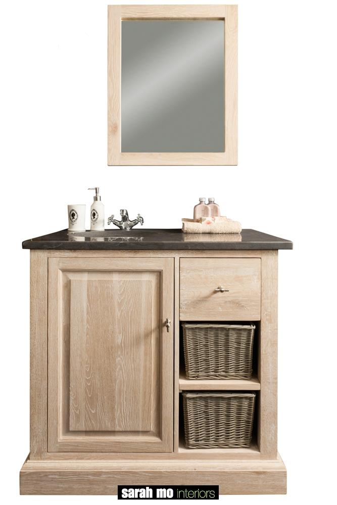 Enkele wastafel in eik met 1 deur, 1 lade en tablet in blauwe steen - Badkamer - Landelijke meubels en verlichting - Sarah Mo