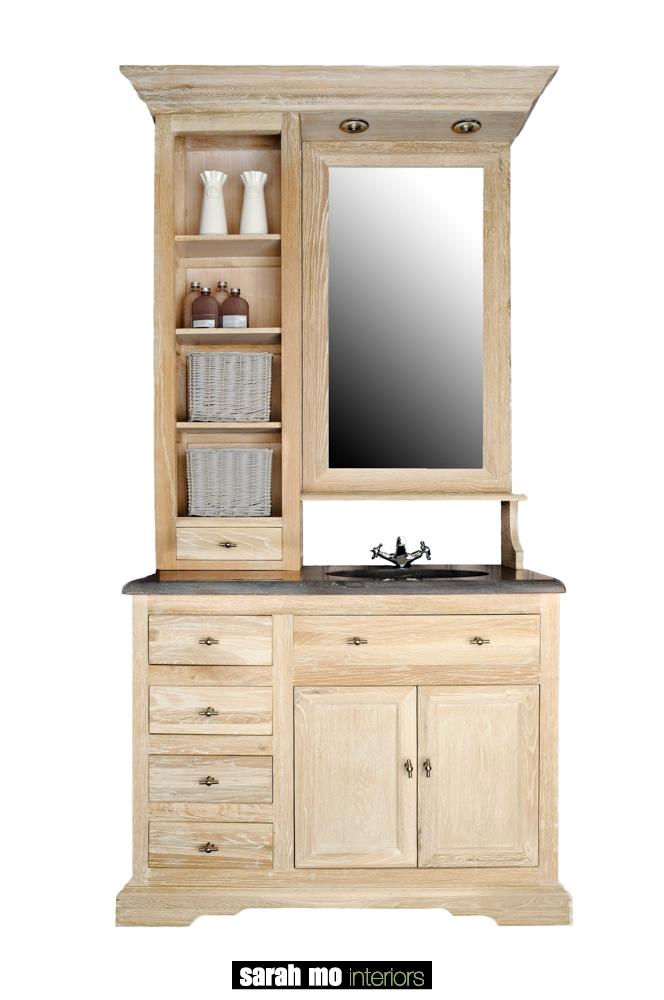 Enkele wastafel in eik met opzet, inclusief spiegel en verlichting met een tablet in blauwe steen - Dressoir - Landelijke meubels en verlichting - Sarah Mo