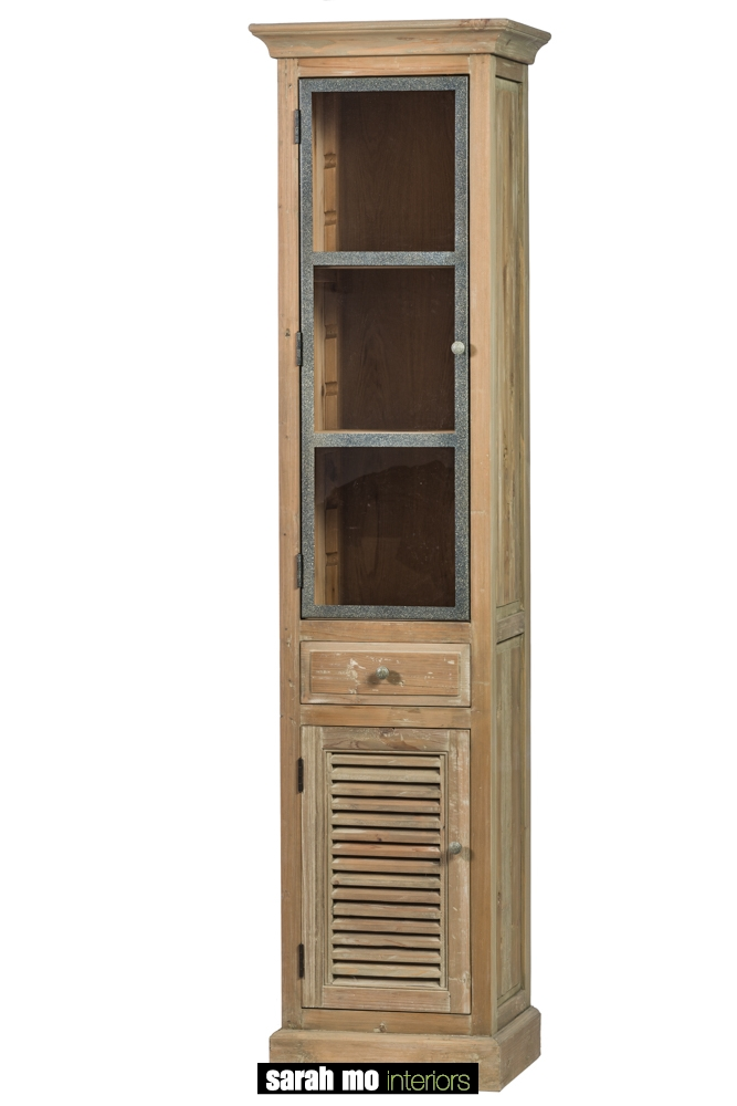 Kolomkast linksdraaiend, 1 deur glas (metalen frame), 1 Louvre deur en 1 lades in old pine - Badkamer - Landelijke meubels en verlichting - Sarah Mo