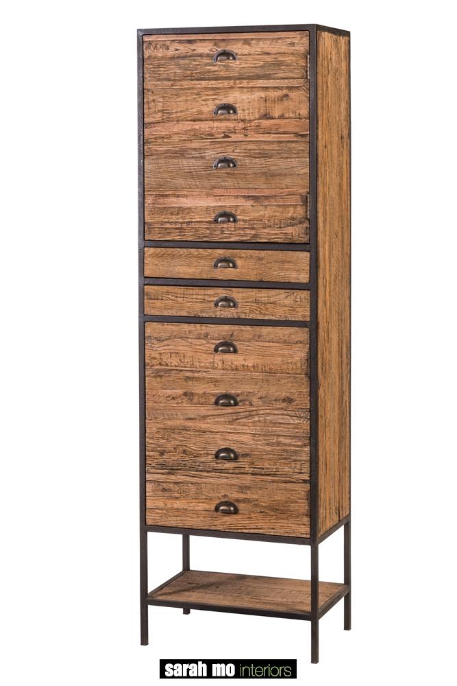 Kolomkast rechtsdraaiend, 2 deuren en 2 schuiven in eik - Badkamer - Landelijke meubels en verlichting - Sarah Mo