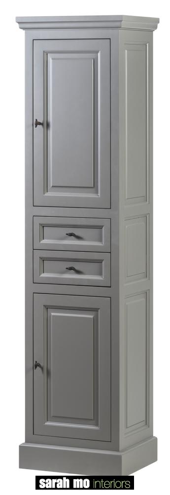 Kolomkast, gelakt, rechtsdraaiend, 2 deuren en 2 lades - Lade - Landelijke meubels en verlichting - Sarah Mo
