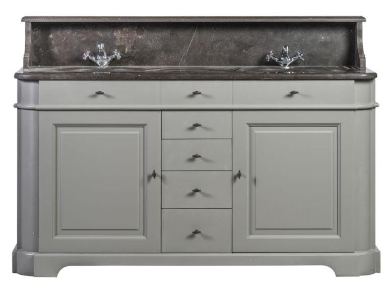 Dubbele wastafel, gelakt, met tablet en opzet in blauwe steen, 2 deuren en 5 lades - Wastafel - Landelijke meubels en verlichting - Sarah Mo