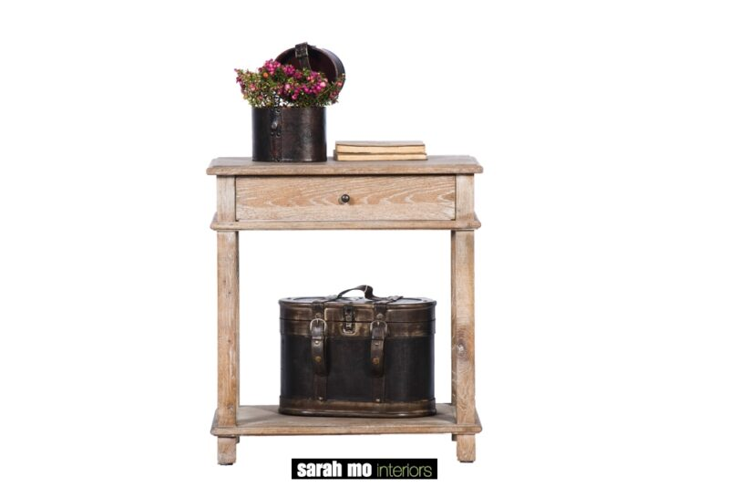 Nachtkastje in eik grijs met 1 lade - Nachtkastje - Landelijke meubels en verlichting - Sarah Mo