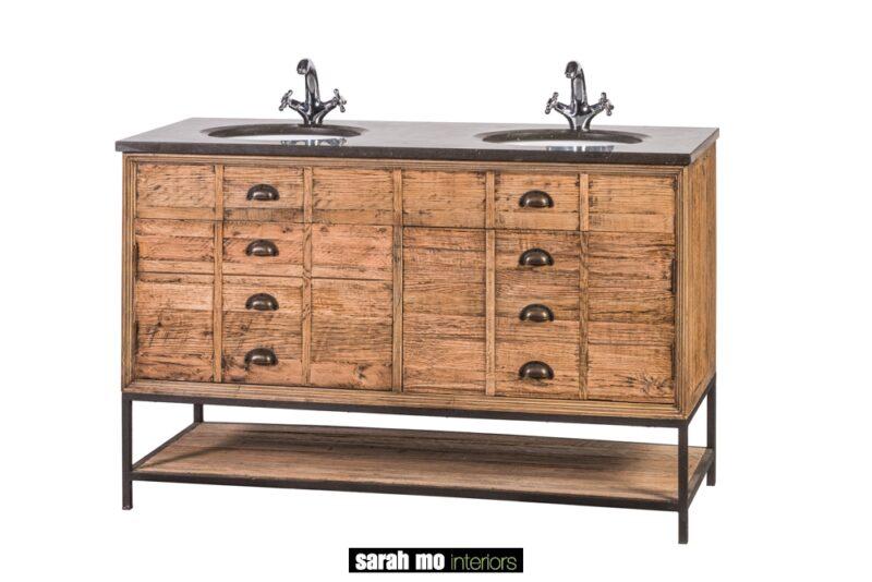 Dubbele wastafel in eik met 2 deuren en tablet in blauwe steen - Wastafel - Landelijke meubels en verlichting - Sarah Mo