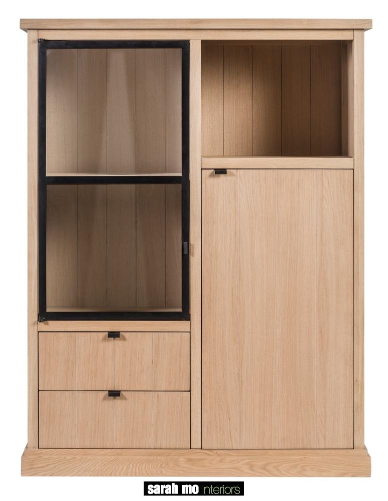 Kast in eik natuur met 1 glazen deur - Kast - Landelijke meubels en verlichting - Sarah Mo