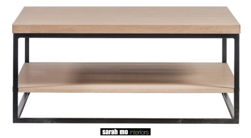 Salontafel in eik natuur met ijzeren onderstel - Tafel - Landelijke meubels en verlichting - Sarah Mo