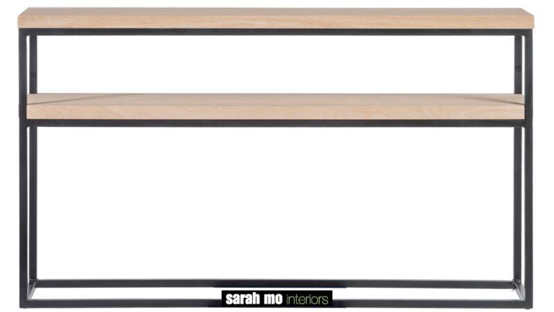 Wandtafel in eik natuur met ijzeren onderstel - Tafel - Landelijke meubels en verlichting - Sarah Mo