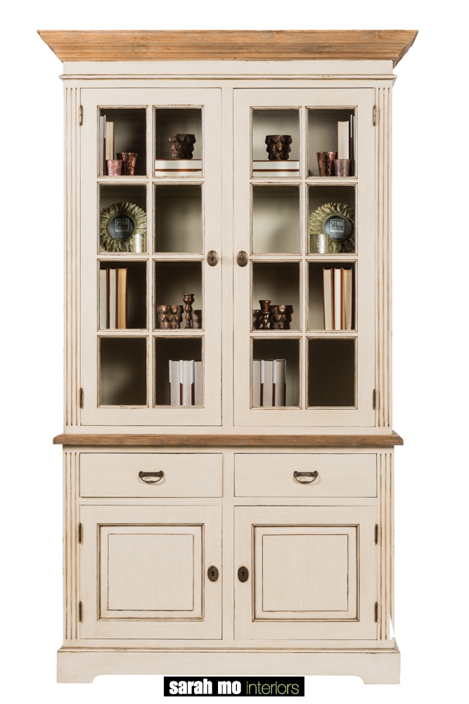 Vitrinekast met 2 glazen deuren, 2 houten deuren, 2 lades en tablet in teak - Vitrine - Landelijke meubels en verlichting - Sarah Mo