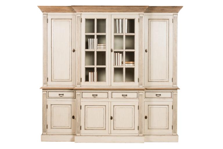 Vitrinekast met 6 houten deuren, 2 glazen deuren, 4 lades en tablet in teak - Lade - Landelijke meubels en verlichting - Sarah Mo