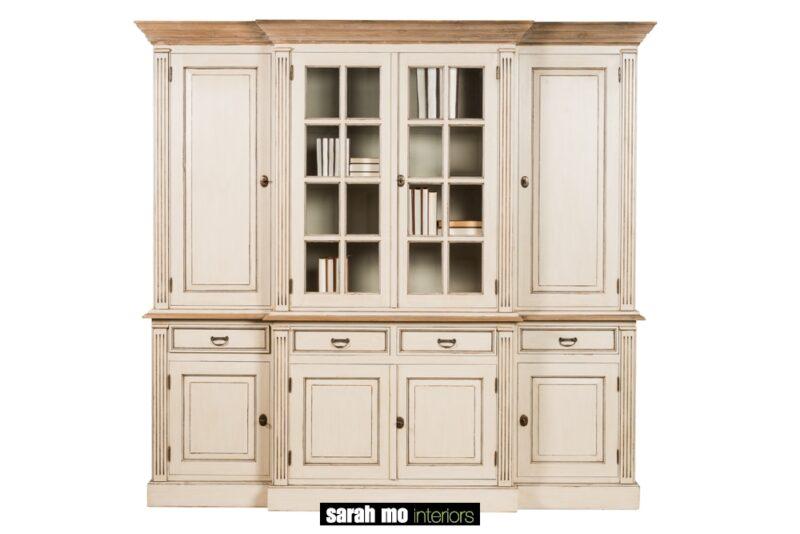 Vitrinekast met 6 houten deuren, 2 glazen deuren, 4 lades en tablet in teak - Meubilair - Landelijke meubels en verlichting - Sarah Mo