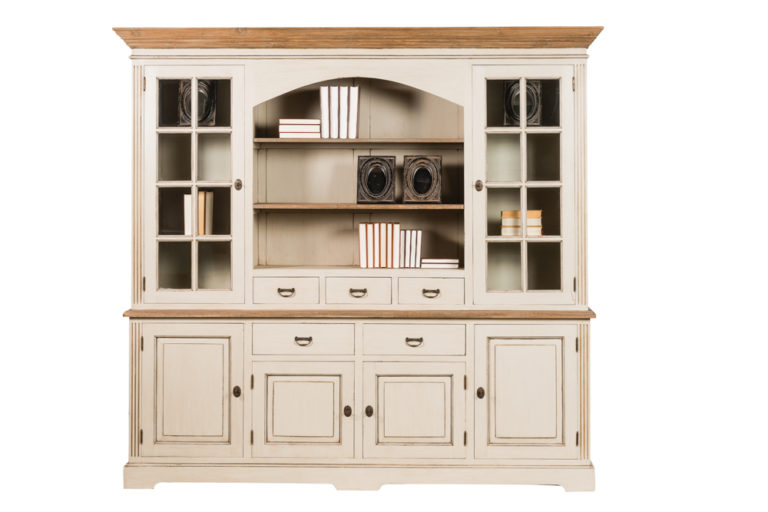 Vitrinekast met 2 glazen deuren, 4 houten deuren, 5 lades en tablet in teak - Dressoir - Landelijke meubels en verlichting - Sarah Mo