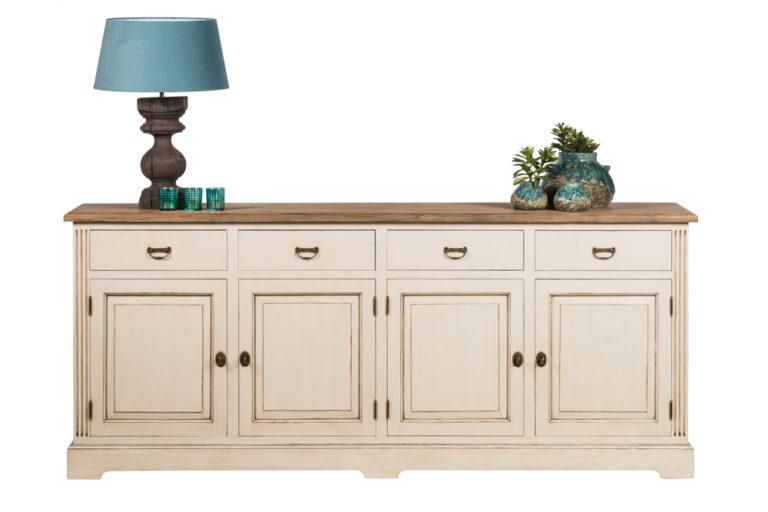 Dressoir met 4 deuren, 4 lades en tablet in teak - Dressoir - Landelijke meubels en verlichting - Sarah Mo