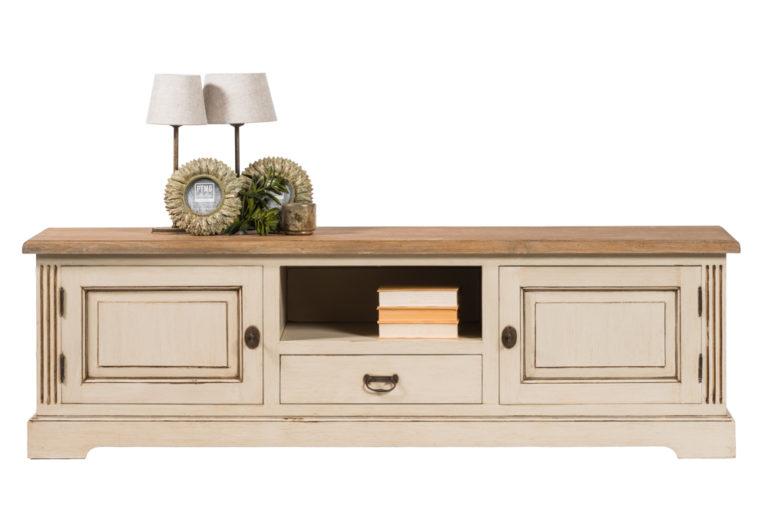Tv-dressoir met 2 deuren, 1 lade en tablet in teak - Meubilair - Landelijke meubels en verlichting - Sarah Mo