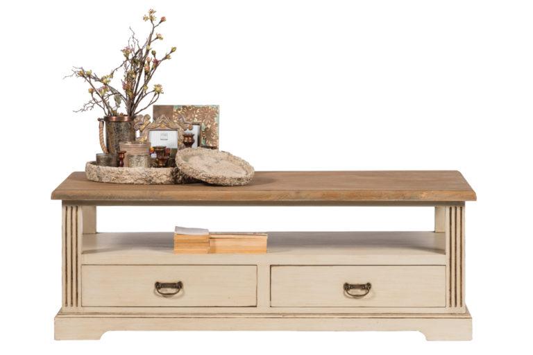 Salontafel met 2 lades en blad in teak - Tafel - Landelijke meubels en verlichting - Sarah Mo