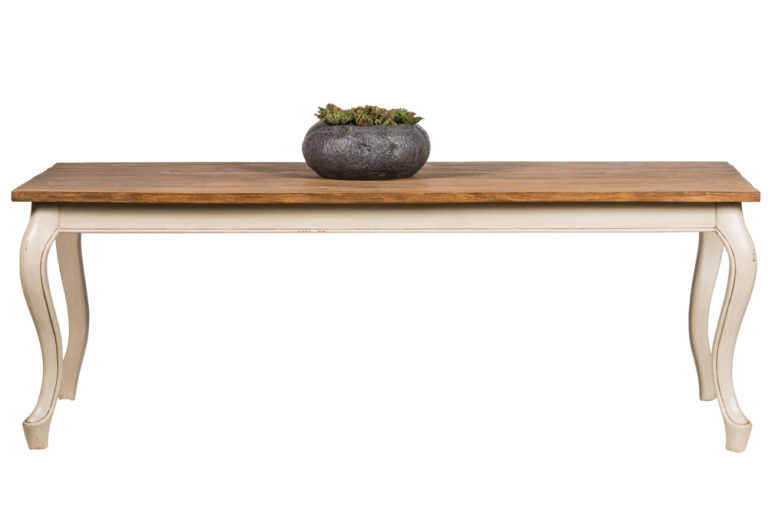 Eetkamertafel met Franse poot en tablet in teak - Lade - Landelijke meubels en verlichting - Sarah Mo