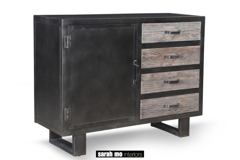 Metalen dressoir met 1 deur en 4 houten lades - Lade - Landelijke meubels en verlichting - Sarah Mo