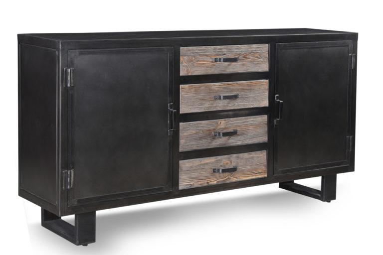Metalen dressoir met 2 deuren en 4 houten lades - Lade - Landelijke meubels en verlichting - Sarah Mo