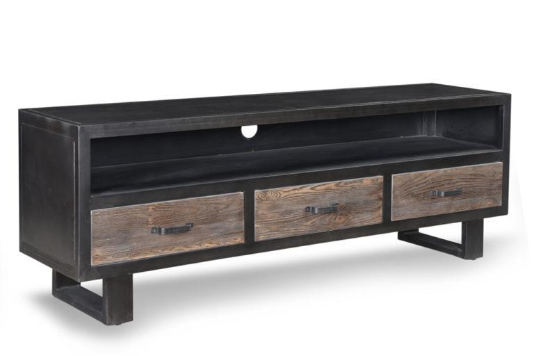 Metalen tv-dressoir met 3 houten lades - Lade - Landelijke meubels en verlichting - Sarah Mo