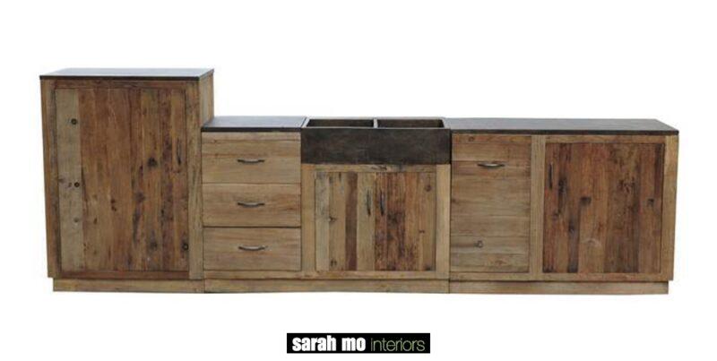 Keuken in old elm met tablet in blauwe steen - Lade - Landelijke meubels en verlichting - Sarah Mo