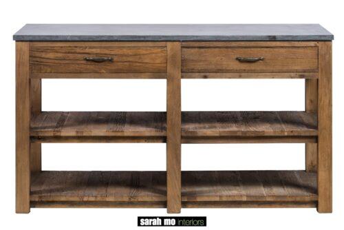 Keukenblok met 2 lades in old elm en een tablet in blauwe steen - Lade - Landelijke meubels en verlichting - Sarah Mo