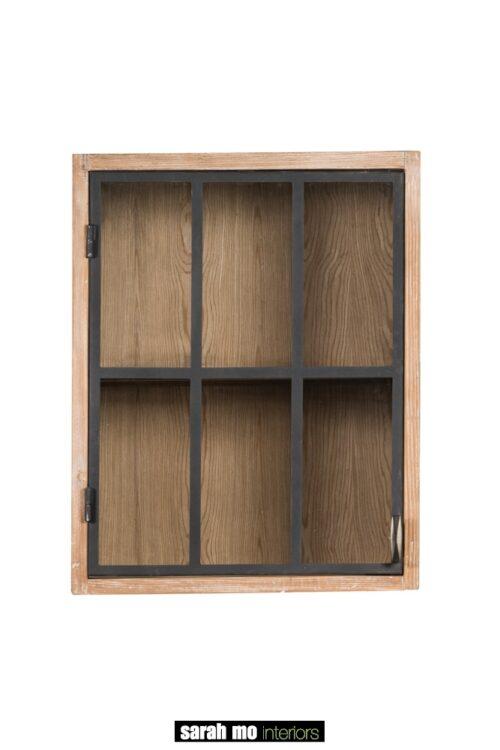 Hangkast in old pine met zwarte deur in glas - Keuken - Landelijke meubels en verlichting - Sarah Mo