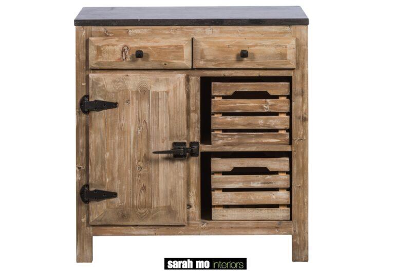 Keukenkast in old pine met 1 deur, 2 lades en tablet in blauwe steen - Lade - Landelijke meubels en verlichting - Sarah Mo