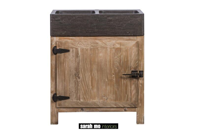 Keukenkast in old pine met wasbak in blauwe steen - Keuken - Landelijke meubels en verlichting - Sarah Mo