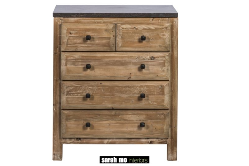 Keukenkast in old pine met 5 lades en tablet in blauwe steen - Lade - Landelijke meubels en verlichting - Sarah Mo