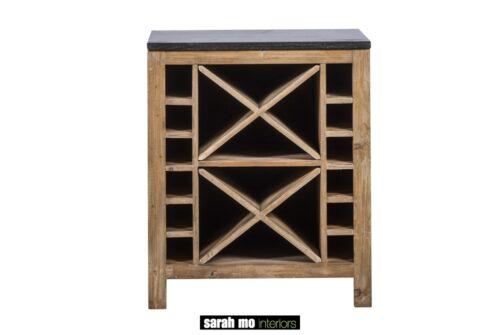 Wijn/keukenkast in old pine met tablet in blauwe steen - Keuken - Landelijke meubels en verlichting - Sarah Mo
