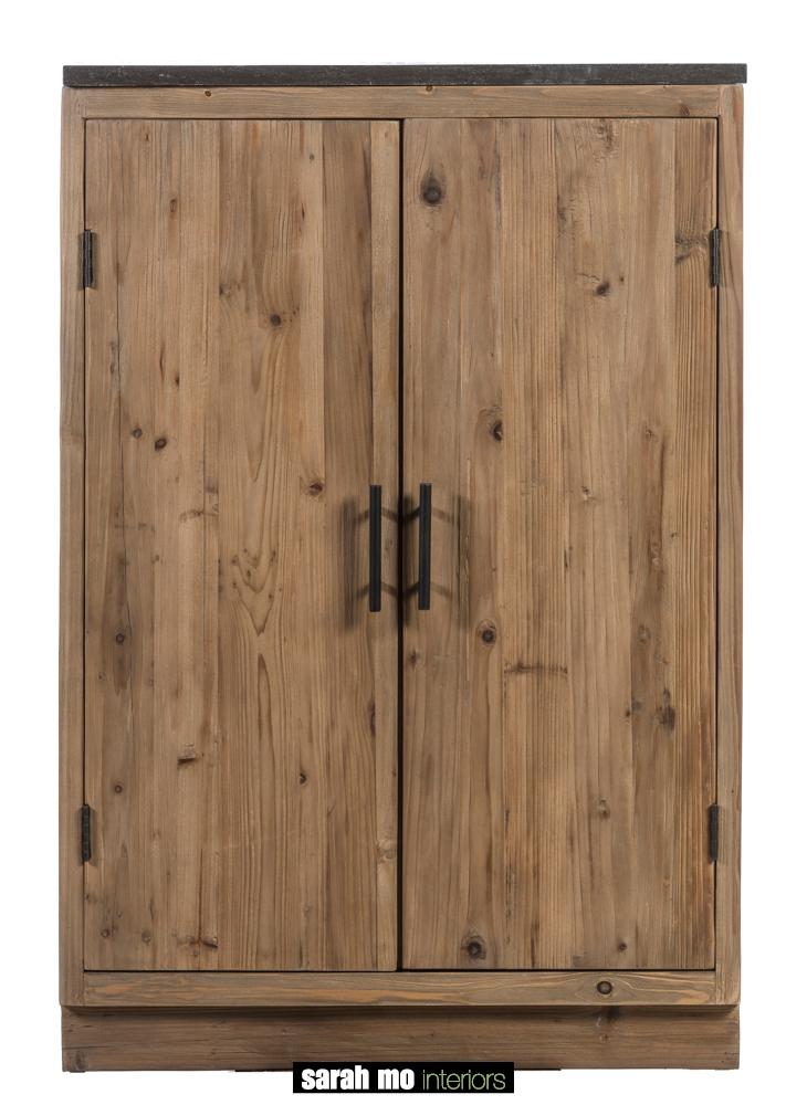 Keukenkast in old pine natuur met tablet in blauwe steen - Keuken - Landelijke meubels en verlichting - Sarah Mo
