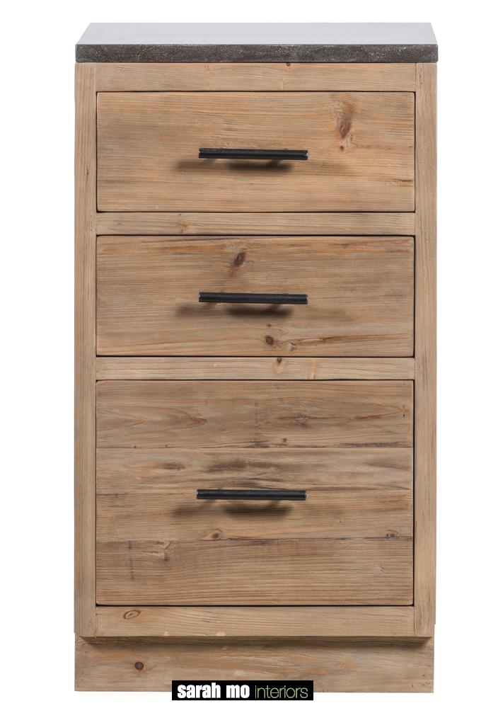 Keukenkast in old pine natuur met 3 lades en tablet in blauwe steen - Lade - Landelijke meubels en verlichting - Sarah Mo