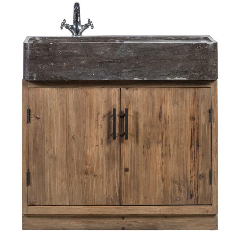 Keukenkast in old pine natuur met wasbak in blauwe steen - Keukenkast - Landelijke meubels en verlichting - Sarah Mo