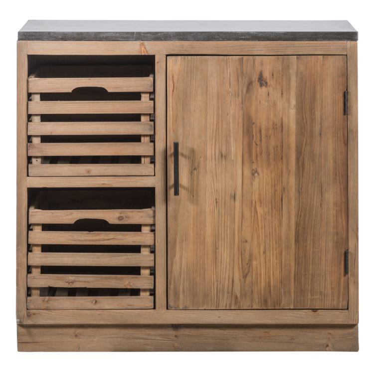 Keukenkast in old pine natuur met 2 mandjes en 1 deur - Lade - Landelijke meubels en verlichting - Sarah Mo