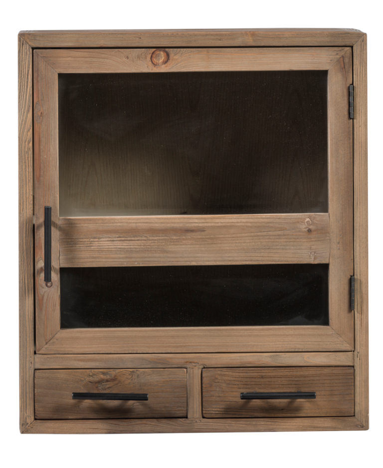 Hangkast in old pine natuur met 1 deur in glas en 2 lades - Lade - Landelijke meubels en verlichting - Sarah Mo