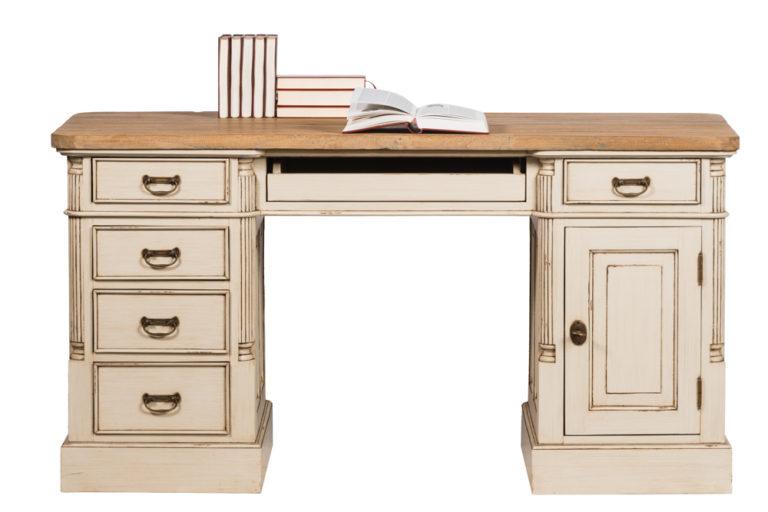 Bureau met 5 lades en 1 deur en tablet in teak - Tafel - Landelijke meubels en verlichting - Sarah Mo