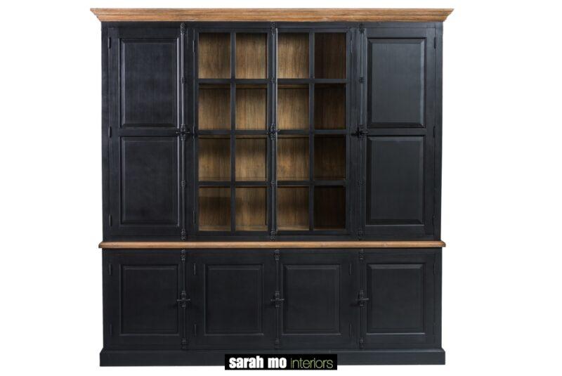 Zwarte vitrinekast met 2 glazen deuren, 6 houten deuren en tablet in hout - China kabinet - Landelijke meubels en verlichting - Sarah Mo