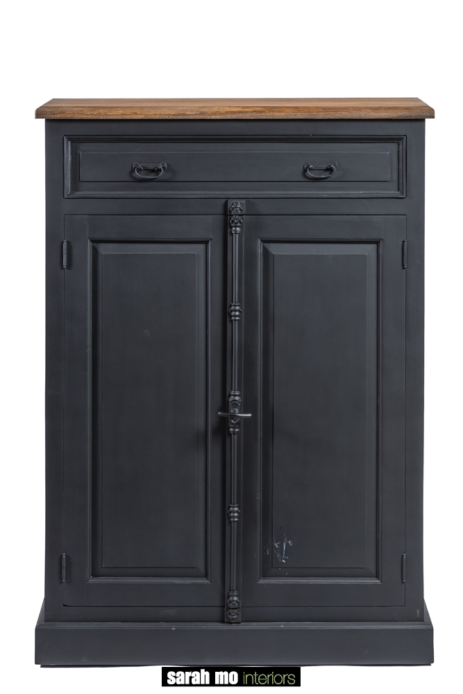 Zwarte barkast met 2 deuren, 2 lades en tablet in hout - Lade - Landelijke meubels en verlichting - Sarah Mo
