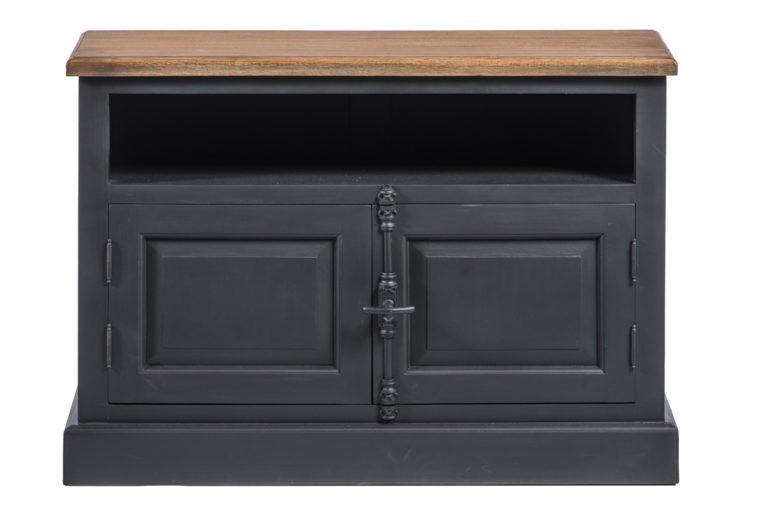 Zwart tv-dressoir met 2 deuren en tablet in hout - Nachtkastje - Landelijke meubels en verlichting - Sarah Mo