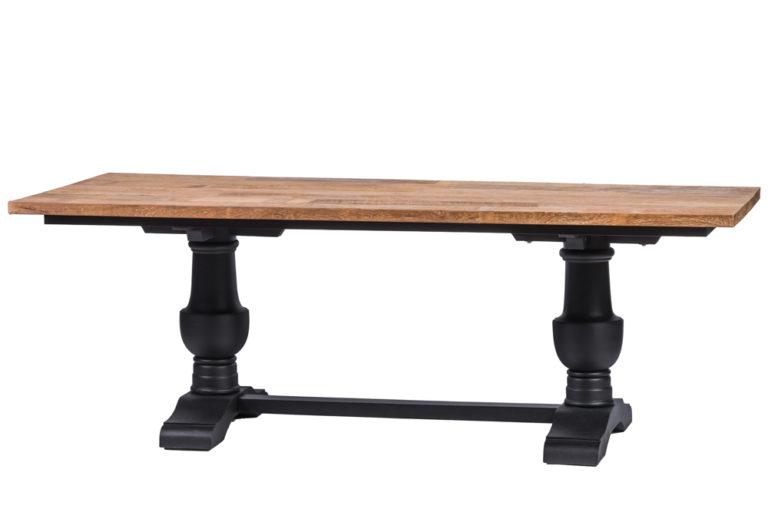 Zwarte tafel met Franse poot en tablet in hout - Tafel - Landelijke meubels en verlichting - Sarah Mo