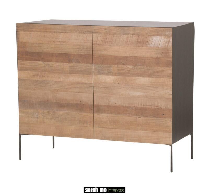 Metalen dressoir met 2 deuren in teak - Tafel - Landelijke meubels en verlichting - Sarah Mo