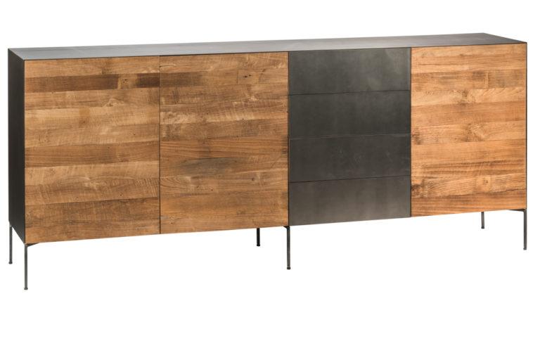Metalen dressoir met 1 metalen deur en 3 deuren in teak - Tafel - Landelijke meubels en verlichting - Sarah Mo