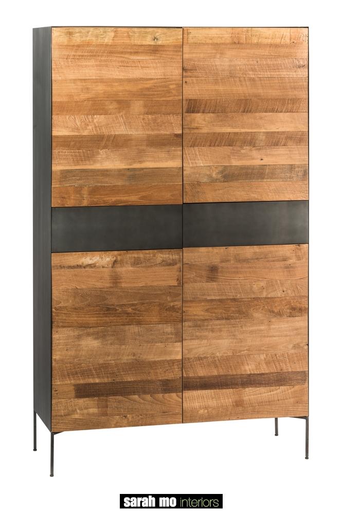 Metalen barkast met 2 metalen lades en 4 deuren in teak - Spaanplaat - Landelijke meubels en verlichting - Sarah Mo