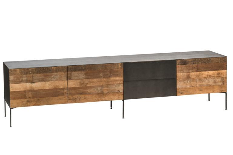 Metalen tv-dressoir groot, 1 valdeur, 2 deuren en 2 lades - Finca Rustica Lowboard XL gerecycled massief teak 221x45 - Landelijke meubels en verlichting - Sarah Mo