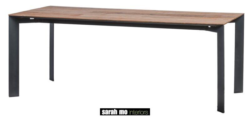 Tafel met metalen onderstel tablet in teak met verlengstuk 50cm - Tafel - Landelijke meubels en verlichting - Sarah Mo