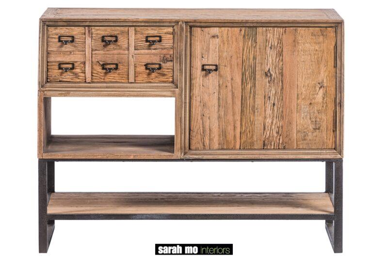 Kastje met 1 lade in gerecycleerde eik - Dressoir - Landelijke meubels en verlichting - Sarah Mo