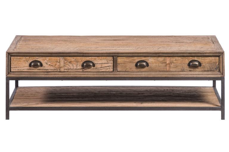 Salontafel met 3 lades in gerecycleerde eik - Tafel - Landelijke meubels en verlichting - Sarah Mo