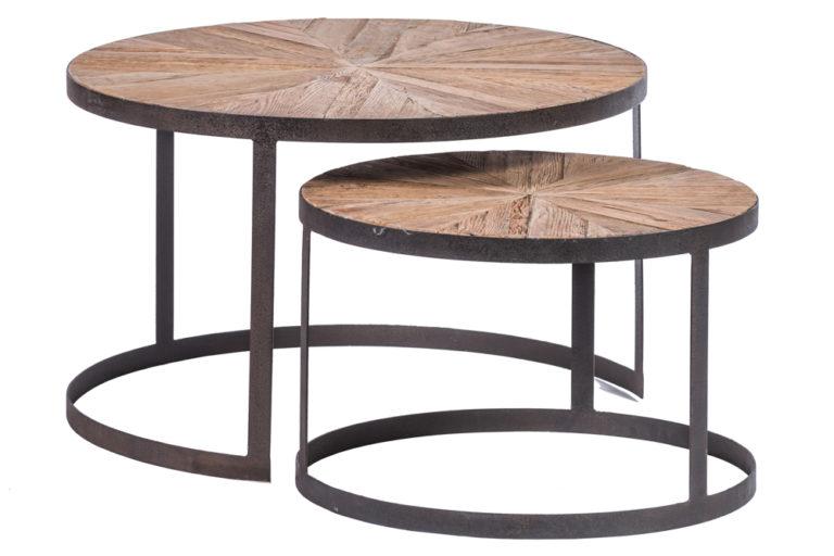 Setje van 2 ronde tafels in gerecycleerde eik - Tafel - Landelijke meubels en verlichting - Sarah Mo
