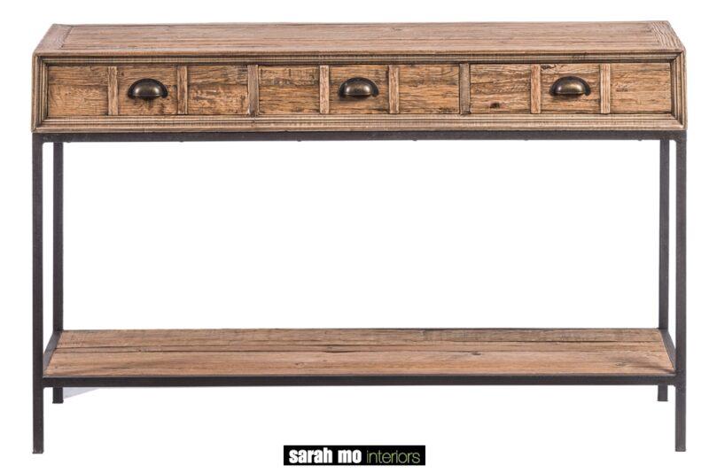 Wandtafel met 3 lades in gerecycleerde eik - Tafel - Landelijke meubels en verlichting - Sarah Mo
